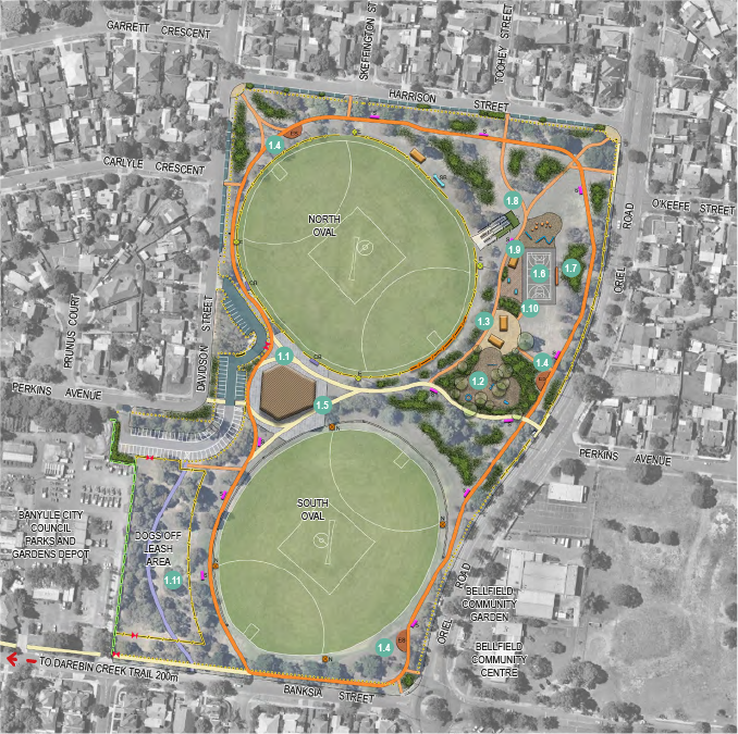 Ford Park Master Plan indicating actions associated with objective 1